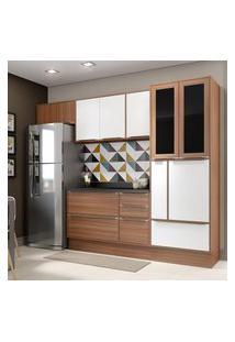 Cozinha Modulada Multimóveis 5453R Calábria 7 Peças Nogueira/Branco