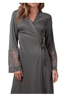 Robe Longo Cruzado Com Renda Maví (Robe609-L) Liganete