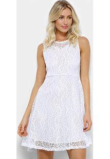 Vestido Pérola Evasê Rendado - Feminino-Branco