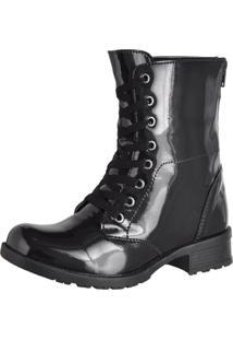 Bota Sapatofranca Ankle Boot Cano Curto Com Cadarço Preta - Kanui