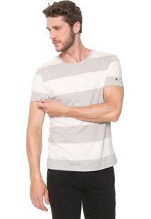 Camiseta Tommy Hilfiger Basic Block Cinza/Bege