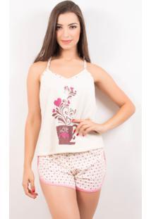 Pijama Baby Doll Estampado Short Rosa / M - Feminino-Rosa