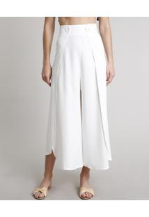 Calça Feminina Pantacourt Com Transpasse E Botões Off White