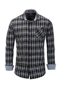 Camisa Masculina Listrada Com Bolso Frontal Manga Longa - Preto