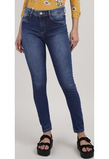 Calça Jeans Feminina Sawary Skinny Push Up Cintura Alta Azul Escuro