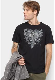 Camiseta Cavalera Manga Curta Estampada Masculino - Masculino-Preto