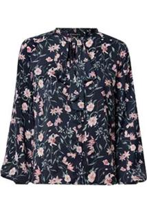 Camisa Dudalina Manga Longa Gola Laço Feminina (Estampado Floral, 40)