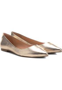 Sapatilha Couro Shoestock Bico Fino Feminina - Feminino-Dourado
