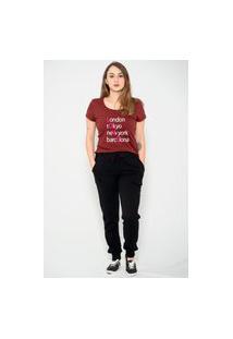 Camiseta Longline Confort Kruger'S Concept London Tokyo New York Barecelona Bordô