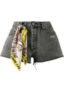 Off-White Shorts Jeans Com Detalhe De Lenço - Cinza
