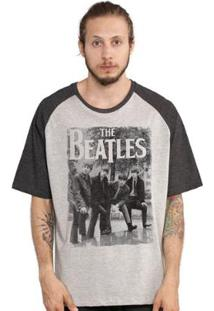Camiseta Bandup! Raglan The Beatles Hey What´S That - Masculino-Cinza+Preto