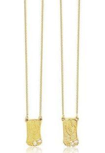 Escapulário Nossa Senhora C Zircônias Semijoia Banhada Ouro Lys Lazuli Feminino - Feminino