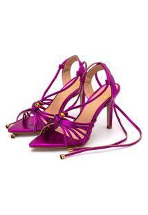 Sandália Bico Folha Gladiadora Salto Fino Luxo Em Pink Metalizado Lançamento