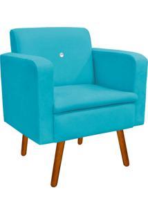 Poltrona Decorativa Emília Suede Azul Tiffany Com Strass - D'Rossi