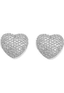 Brinco Coração De Prata C/ Zircônia - Feminino-Prata