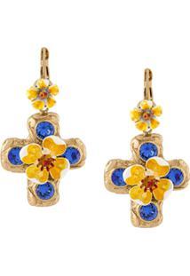 Dolce & Gabbana Par De Brincos Longos Florais - Dourado