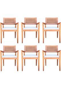Kit 6 Cadeiras Decorativas Sala De Jantar Megan Amêndoa Linho Bege - Gran Belo