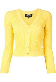 Paule Ka Cardigan Decote V De Tricô Canelado - Amarelo