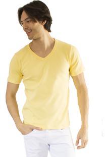 Camiseta Versatti Fram Manga Curta Gola V Amarela