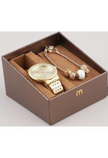 Kit De Relógio Analógico Mondaine Feminino + Pulseira - 53656Lpmvde1Kb Dourado - Único