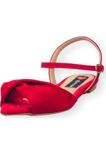 Sandália Rasteira Love Shoes Bico Folha Nó Torcido Vermelho