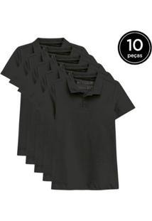 Kit 10 Camisas Polo Basicamente Feminino - Feminino-Preto