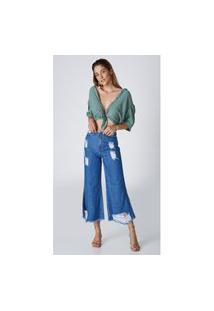 Calça Jeans Express Pantacourt Cintura Alta Mercia Azul