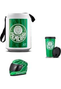 Cooler Térmico Palmeiras Mini Capacete E Copo - Unissex-Verde