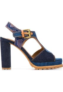 See By Chloé Sandália Jeans Com Efeito Pele De Cobra - Azul