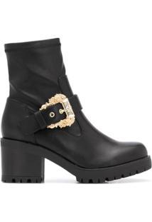 Versace Jeans Couture Ankle Boot Com Detalhe De Fivela - Preto