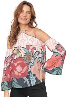 Blusa Ciganinha Mercatto Floral Rosa/Azul-Marinho