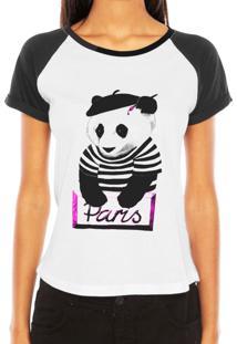 Camiseta Criativa Urbana Raglan Tshirt Panda Pintor Paris Branca E Preta
