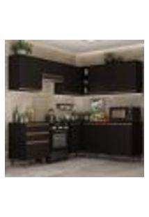 Cozinha Completa De Canto Madesa Reims 392001 Com Armário E Balcão - Preto