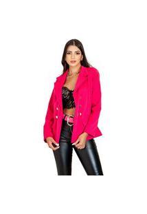 Blazer Casaco Feminino Inverno Elegante Para Frio Corte Alfaiataria Estilo Balmain Rosa