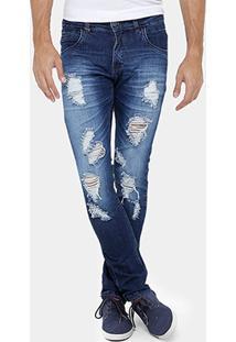 Calça Jeans Skinny Zune Estonada Rasgos Masculina - Masculino
