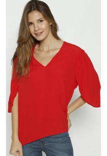 Blusa Lisa Com Pregas - Vermelha - Colccicolcci