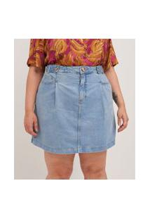 Saia Jeans Com Martingale No Cós Curve & Plus Size | Ashua Curve E Plus Size | Azul | 46