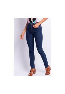 Calça Skinny Jeans Feminino Lavagem Escura Estonada Jeans
