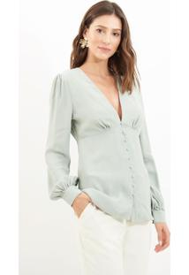 Blusa Le Lis Blanc Lucy Crepe 2 Verde Feminina (Pomme 15-4306Tcx, 48)