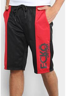 Bermuda Ecko Ber Active Masculina - Masculino-Preto+Vermelho