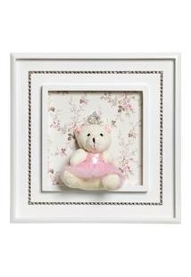 Quadro Princesa Strass Ursa Grande Bebê Infantil Menina Potinho De Mel Rosa