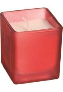 Vela Natalina Aromatizada Copo Vidro Quadrado Vermelho 5Cm