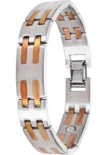Pulseira Sabona Stainless Copper Bar Magnetic - Masculino-Prata