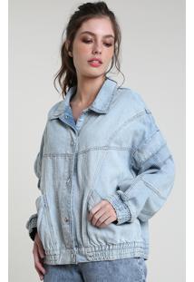 Jaqueta Jeans Feminina Mindset Bbb Oversized Com Bolsos E Manga Removível Azul Claro