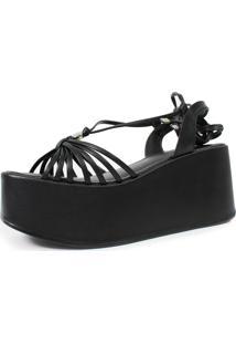 Sandã¡Lia Anabela Plataforma Damannu Shoes Debbie Preto - Preto - Feminino - Couro Sintã©Tico - Dafiti