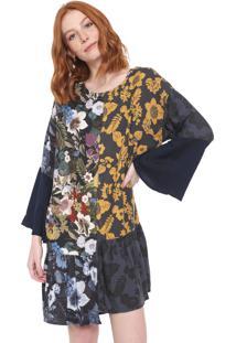 Vestido Desigual Curto Navik Grafite/Preto