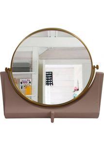 Espelho De Resina Nude E Metal Dourado