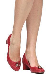Scarpin Shoestock Matelassê Medalha - Feminino-Vermelho
