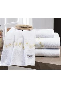 Jogo De Toalhas (Banho E Rosto) Super Grande Coleção Nuance Branco E Amarelo Algodão 200 Fios Com 5 Peças - Bernadete Casa