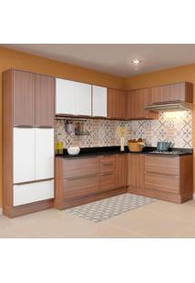 Cozinha Compacta 16 Portas Com Rodapé 5462R Nogueira/Branco - Multimóveis